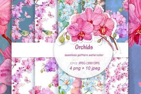 seamless pattern watercolor .Orchid #orchids #watercolorflowers #watercolorclipart