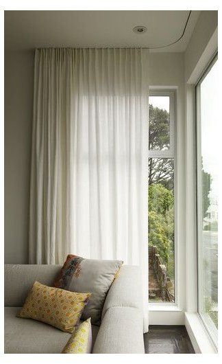 One Corner Window Treatments Modern Curtains On Recessed Track Modern W In 2020 Curtains Living Room Modern Modern Window Treatments Contemporary Window Treatments