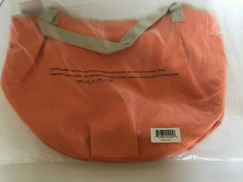 Nordstrom New Large Orange And Tan Tote Bag Shopping Canvas