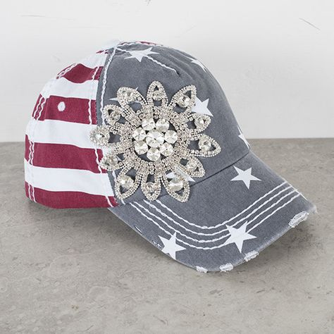 Olive+and+Pique+American+Flag+Bling+Cap  42bbf8d71cc