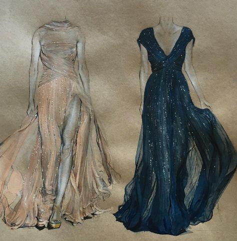 3a10bcde3e7 Фэшн иллюстрации  Изысканные рисунки платьев