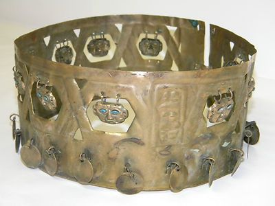 Antique Brass Gold Chippewa Indian Chief Head Piece Rare Native American Tribal