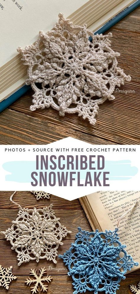 Inscribed Snowflake Crochet Inspiration - - Snowflakes are surely among my favorite types of crochet ornaments for winter. I am always amazed at how fragile, elegant and beautiful they are. Appliques Au Crochet, Crochet Motifs, Crochet Doilies, Crochet Flowers, Crochet Stitches, Crochet Flower Bunting, Christmas Bunting, Crochet Christmas Ornaments, Christmas Crochet Patterns