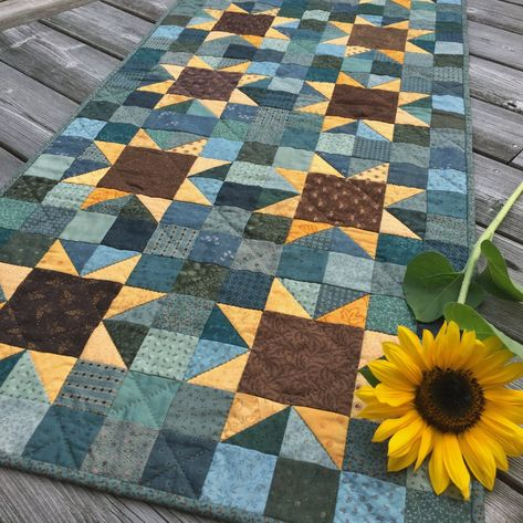 Star Quilts, Scrappy Quilts, Mini Quilts, Patchwork Quilting, Blue Quilts, Hand Quilting, Sunflower Quilts, Sunflower Pattern, Quilt Block Patterns
