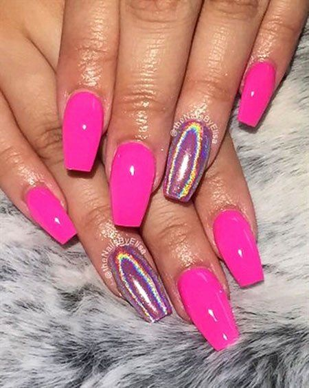 Hot Pink Nail Designs In 2020 Neon Acrylic Nails Pink