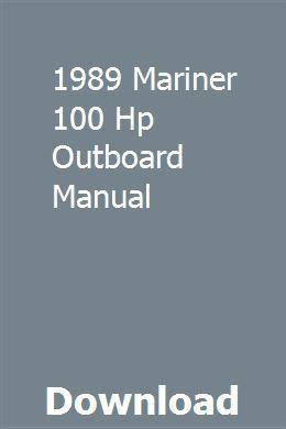 1989 Mariner 100 Hp Outboard Manual Repair Manuals Harley V Rod Bumper Repair