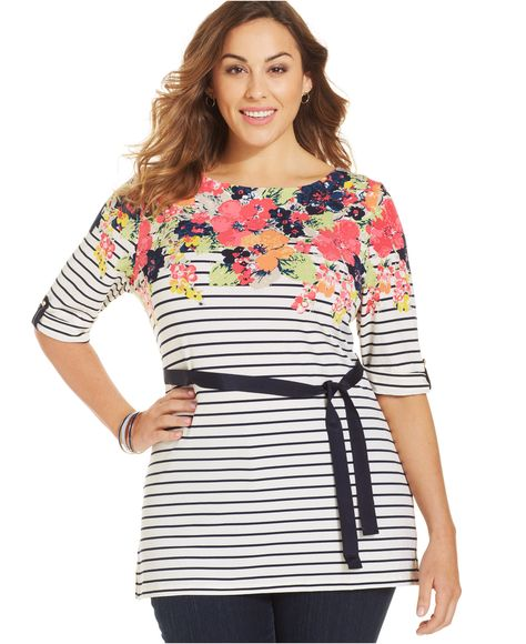 6fdc51434bc Charter Club Plus Size Printed Belted Tunic - Tops - Plus Sizes - Macy s