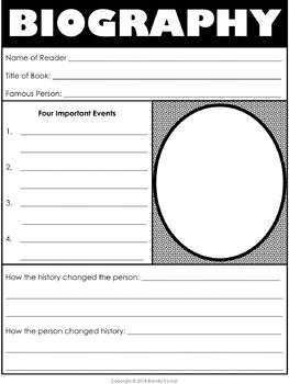 Biography Graphic Organizer Free With Images Biography Graphic