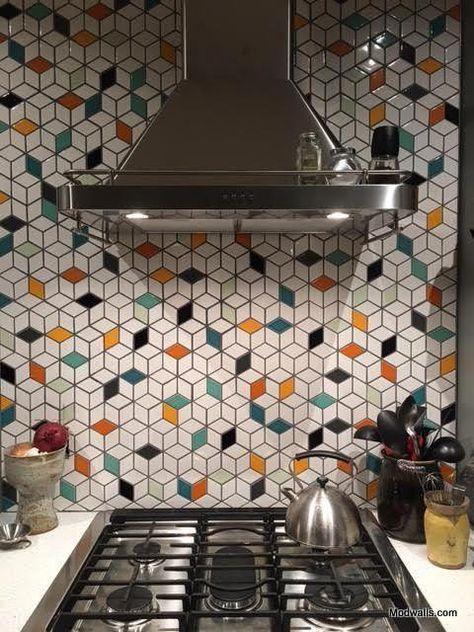 Modwalls Clayhaus Ceramic Mosaic Diamond 2 7/8 Tile | 103 Colors #kitchenbacksplash