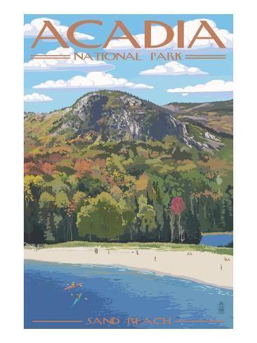 Acadia National Park Maine Sand Beach Scene Art Print Lantern Press Art Com In 2020 National Park Posters National Parks Acadia National Park