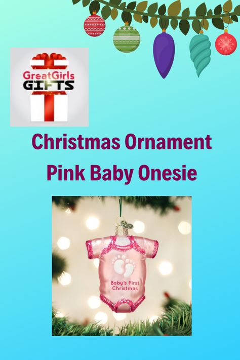 Old World Christmas 32338 Ornament Pink Baby Onesie