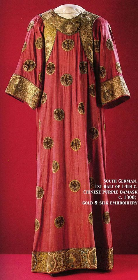 Eagle Dalmatic, South German, 1st half of 14th c.  Chinese purple damask, c. 1300; gold and silk embroidery.  http://www.virtue.to/articles/extant.html