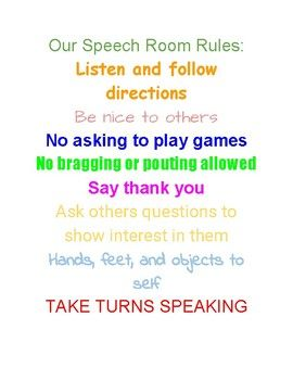 Our Speech Room Rules | SLP bulletin board and decorating