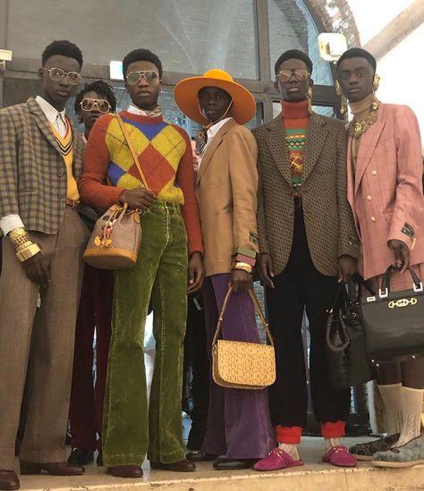 , , and at Gucci Restort Look Fashion, High Fashion, Fashion Outfits, 70s Fashion Men, 1999 Fashion, Queer Fashion, Androgynous Fashion, Retro Fashion, Fashion Trends