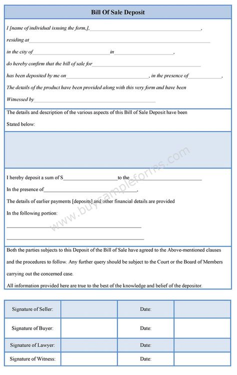 Download online a Bill of Sale deposit template either in MS Word - bill of lading templates