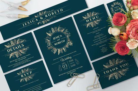 Wedding Invitation Suite Template AI, EPS