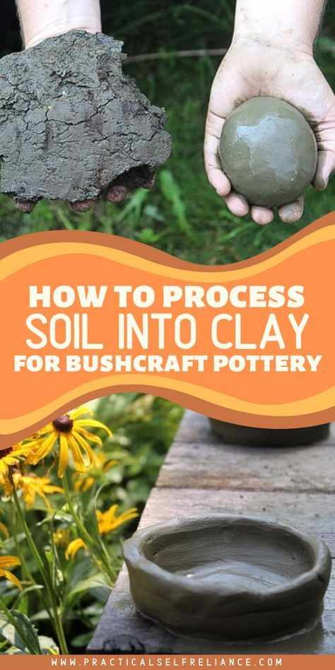 How to Process Soil into Clay for Pottery How did primitive potters harvest clay? People have been making pottery for millennia, and convenient hobby shops have only been a thing for a few decades at best. Before that, people harvested… Continue Reading → Wilderness Survival, Camping Survival, Outdoor Survival, Survival Prepping, Survival Skills, Homestead Survival, Survival Shelter, Emergency Preparedness, Diy Clay