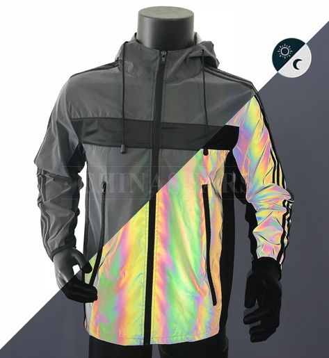 This Jacket Is Made Of Rainbow Reflective Fabric It Appears Black In Daylight While At Night When Ill Reflective Clothing Outerwear Trends Reflective Clothes