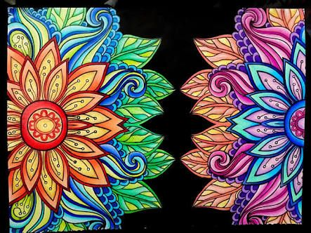 Flower Coloring Pages Already Colored Display