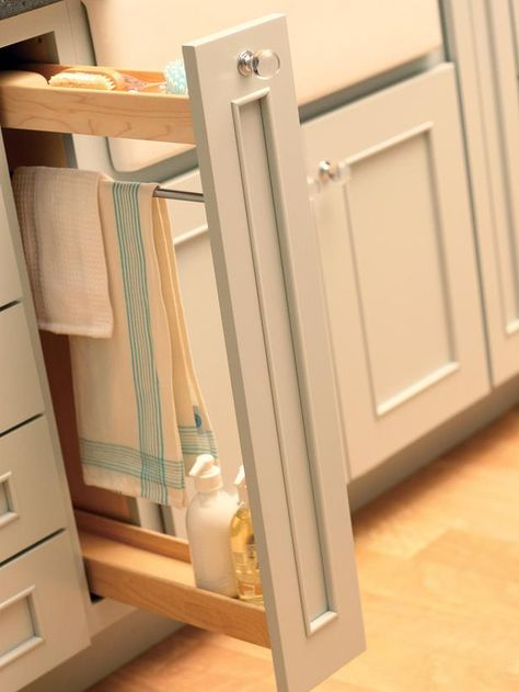 Clear the Countertops Stash dishwashing supplies out of sight. This narrow pullout provides sink-adjacent storage for dish soap, scrub brushes and hand towels. Plus, a towel rack allows the dish towel to dry after use.