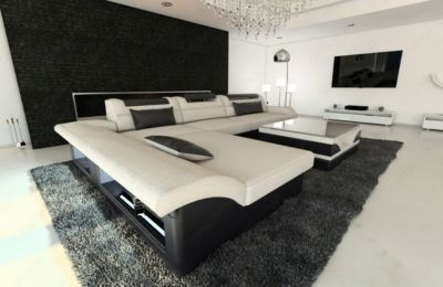 Fresh Sofa Dreams Stoff Couch MONZA L Form mit LED Beleuchtung Jetzt bestellen unter https