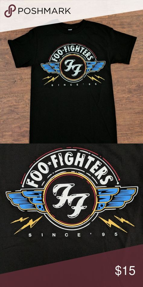 NEW Foo Fighters Wings Seal Logo UnisexTshirt 100% Cotton SILK SCREEN PRINT Shirts Tees - Short Sleeve