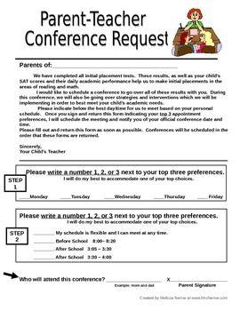 Parent Teacher Conference Request Form Letter To Send Home