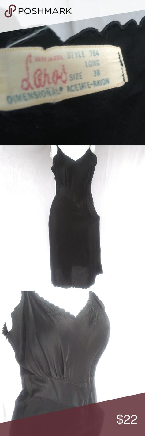 Vintage Laros Tall Black Full Slip Small 60s Vintage Laros Tall Black Full Slip Small 60s Made in USA Embroidery & Scalloped Edge Laros Intimates & Sleepwear Chemises & Slips