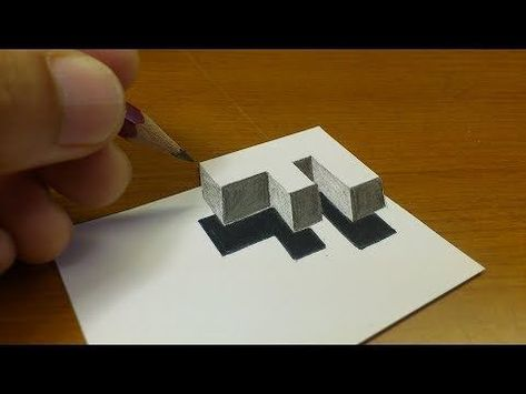 "Very Easy!! How To Drawing 3D Floating Letter ""F"" - Anamorphic Illusion - 3D Trick Art on paper - YouTube #Illusion"