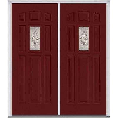 Heirloom Master Deco Glass 1 4 Lite Painted Majestic Steel Double Prehung Front Door Front Door Prehung Doors Doors