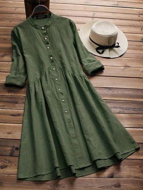 Women's Casual Long Sleeve Button Dress   shrural.com