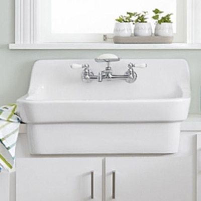 American Standard Wall Mount Vitreous China 30 In 2 Hole Single Basin Kitchen Sink Kit In White Small Kitchen Sink Kitchen Sink Options Sink