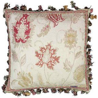 Paoletti Lucerne Floral Chenille Tasselled Cushion Cover