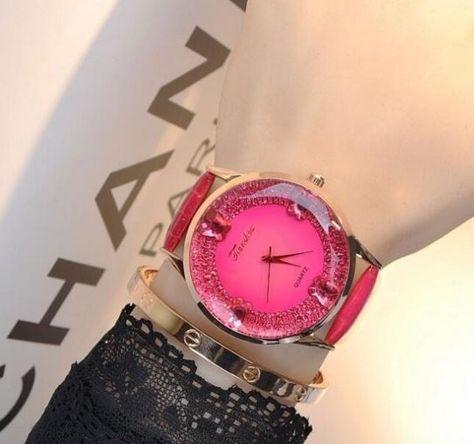 Luxusní stylové dámské hodinky tmavě růžové Na tento produkt se vztahuje  nejen zajímavá sleva 033a032faa