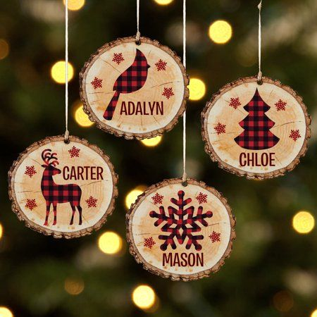 Personalized Perfectly Plaid Rustic Wooden Ornament Reindeer Available In 4 Patterns Walmart Com Wood Christmas Ornaments Christmas Ornaments Christmas Ornament Crafts