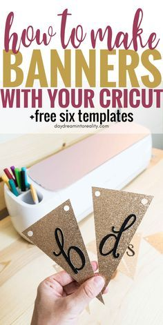Make Stunning Banners With your Cricut +Free SVG Templates Today is the day where you will learn how to make THE MOST beautiful banners with your Cricut (Maker or Explore) once and for all. Not only will I be showing you how to make them inside Cri Cricut Ideas, Cricut Tutorials, Cricut Fonts, Cricut Vinyl, Cricut Air, Cricut Banner, Banner Template, Paper Banners, Web Banners