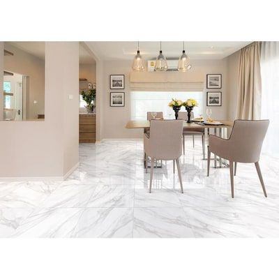 Bianco Carrara 18 In X 18 In Glazed Ceramic Marble Look Floor Tile Lowes Com Living Room Tiles Ceramic Floor Tile Marble Living Room Floor