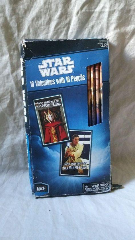Star Wars Valentine/'s Day cards 16 Valentine/'s 16 pencils