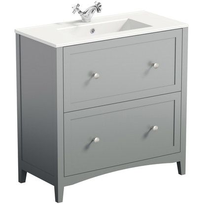 The Bath Co Camberley Satin Grey Floorstanding Vanity Unit And