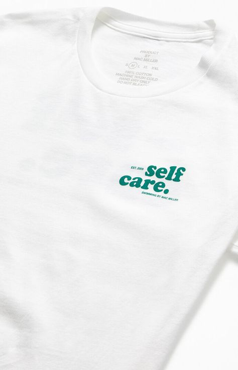 Rep the late great Mac Miller on top in this rad graphic tee. The Mac Miller Self Care T-Shirt features a classic construction and graphics inspired by his 2018 album Swimming on the front and back. Shirt Print Design, Tee Shirt Designs, Tee Design, Graphic Shirts, Printed Shirts, Branded T Shirts, School Looks, Mises En Page Design Graphique, Cool Shirts