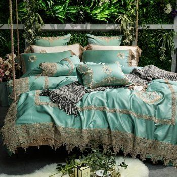 Turquoise And Gold Eyelet Lace Design Vintage Victorian Chic Noble Excellence Full Queen Size Bedding Sets Victorian Bedroom Gold Bed Bedding Sets