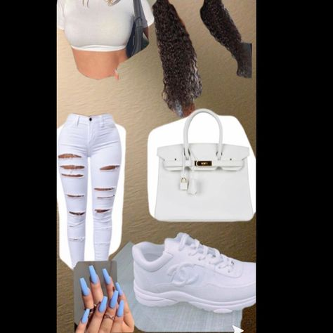 kylie jenner inspired looked 🤍( for affordable fit replace channel sneakers with air force 1's and no birkin) -fit by P #expensive #birkinbag #white #channel #bougie #acrylics #allwhiteoutfit #curly hair #rippedjeans #jeans #crop top #shein #shein #babyblue #pinkqueen #fashionnova #cute #trendy and special thx too @official.vaehp  for her shoutout🤍