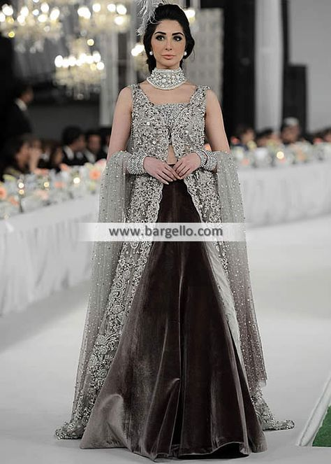 Gorgeous Bridal Gown with Velvet Lehenga Pakistani Bridal Gown with Velvet Lehenga Bromley UK Elan Bridal Gown