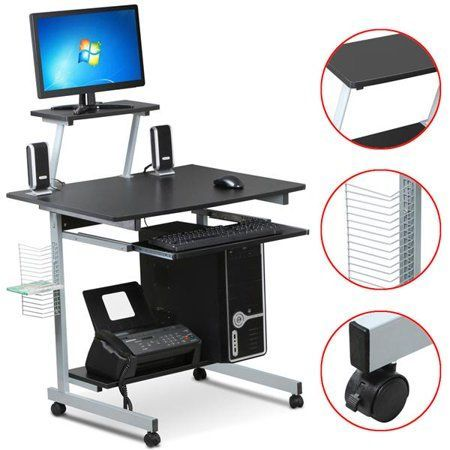 Mobile Computer Desks With Keyboard Tray Printer Shelf And Monitor Stand Small Space Home Of In 2020 Printer Shelf Desk With Keyboard Tray Black Computer Desk