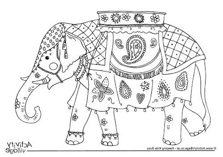 Indian Elephant Coloring Pages Printable  Elephant coloring page