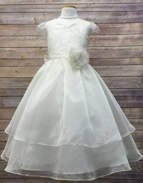 Flower Girl Dress Double Layered Lace and Organza Dress Ivory Party Dress Special Occasion Dress