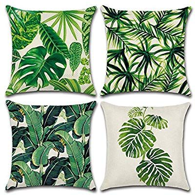 Amazon Com Miulee Pack Of 4 Tropical Leaves Series Throw Pillow