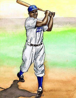 Jackie Robinson By Mel Thompson Jackie Robinson Celebrity Artwork Baseball Art