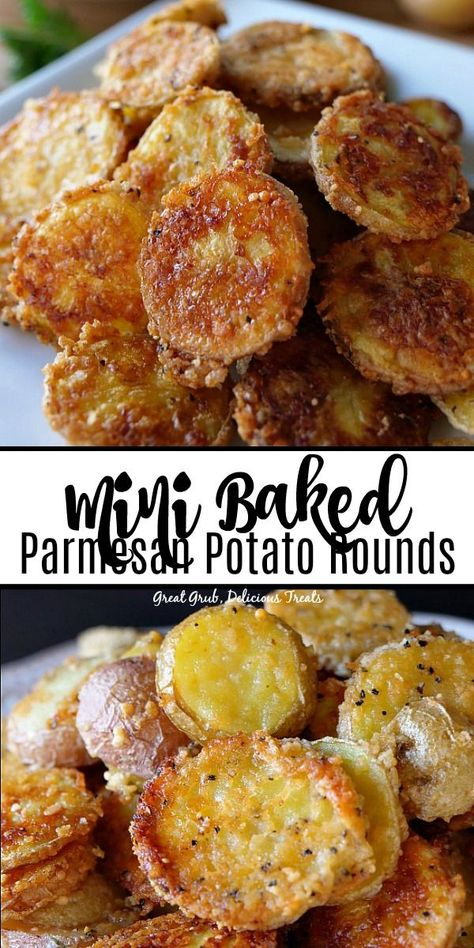 Mini Baked Parmesan Potato Rounds are thinly sliced potatoes covered in Parmesan cheese, seasoned with garlic salt and pepper and baked until fork tender. potato al horno asadas fritas recetas diet diet plan diet recipes recipes Best Appetizer Recipes, Best Appetizers, Potato Appetizers, Appetizer Dishes, Delicious Appetizers, Wedding Appetizers, Vegetarian Appetizers, Potato Side Dishes, Vegetable Dishes