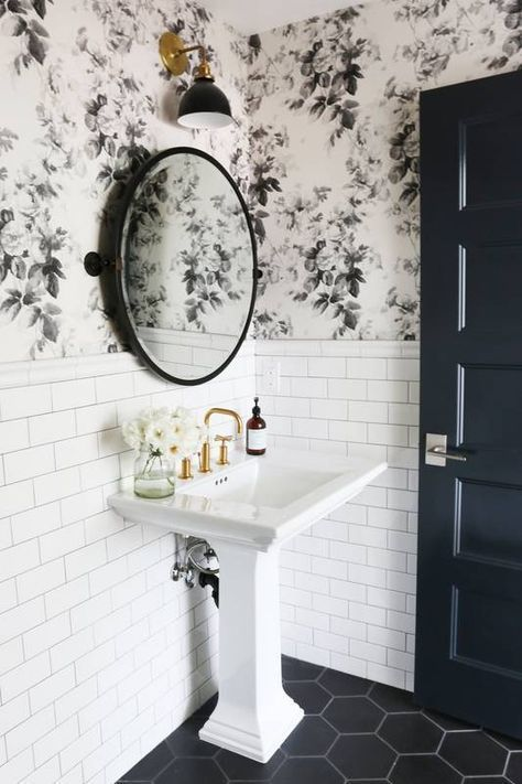 Wallpaper Love For Your Bathroom Bathroom Design Small Black Floor Tiles Small Bathroom Remodel
